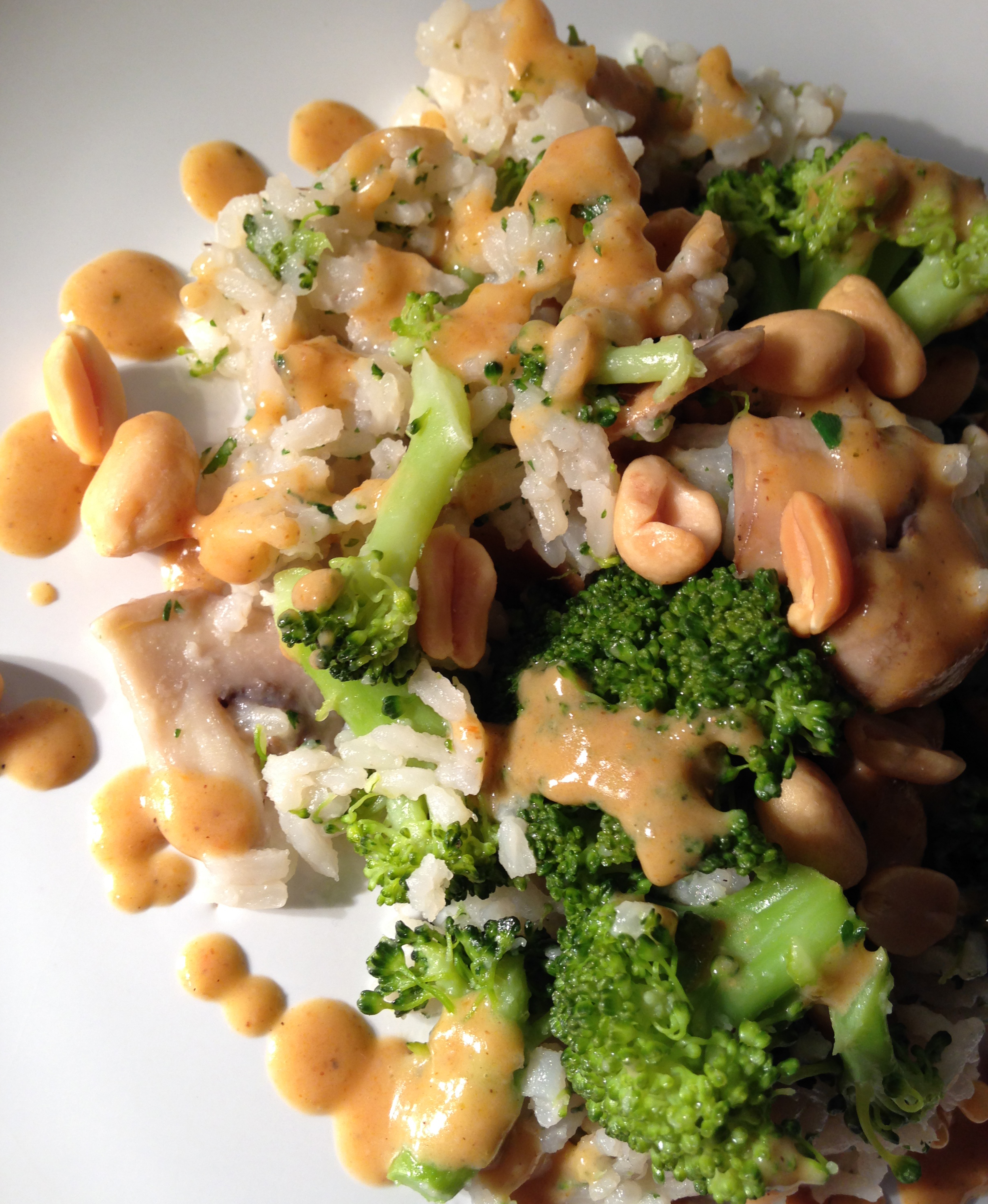 champignon-brokkoli-reispfanne mit erdnusssauce und knackigen erdnüssen | mushroom-broccoli-rice-pan with peanut sauce and crunchy peanuts | vegan | vegetarisch | vegetarian