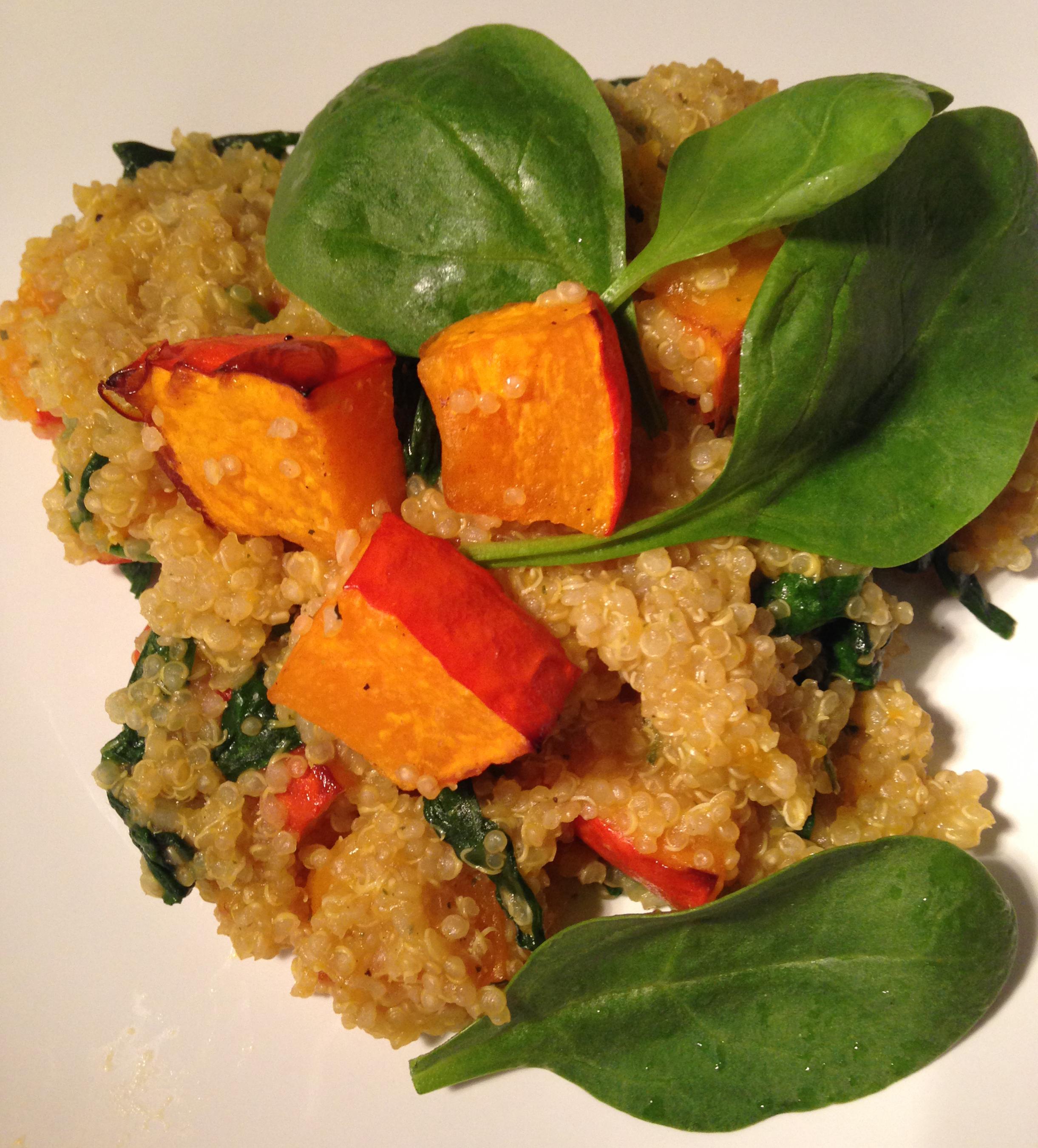 pfannenzeit: kürbis, babyspinat & quinoa (mit feta) | pan time: pumpkin, baby spinach & quinoa (with ewe's cheese) ❤ | vegan | vegetarian | vegetarisch