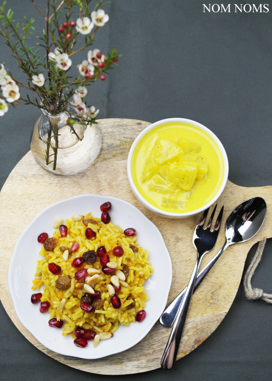 orientalisch-würziger reis mit ananas-curry-sauce | oriental spicy rice with pineapple curry sauce (vegan)