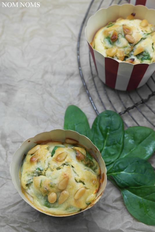 spinat-feta-muffins mit pinienkernen | spinach feta muffins with pine nuts (veggie/vegan)
