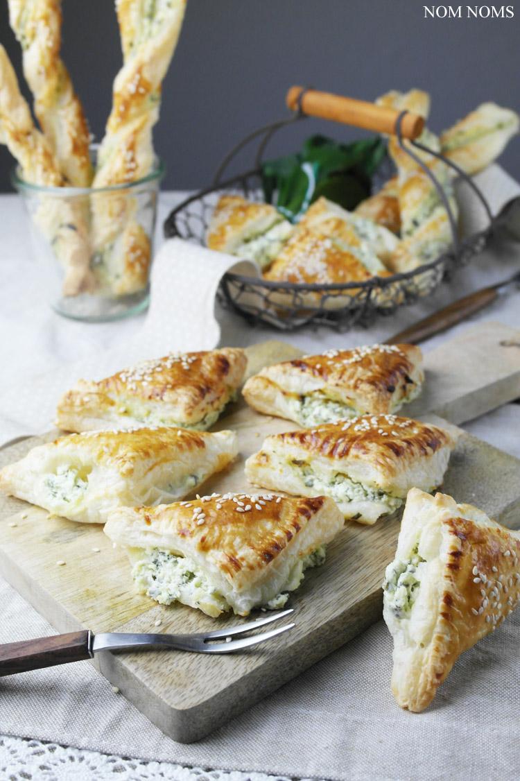 bärlauch-frischkäse im knusprigen blätterteig | wild garlic (ramson) cream cheese in cripsy puff pastry (vegetarian)