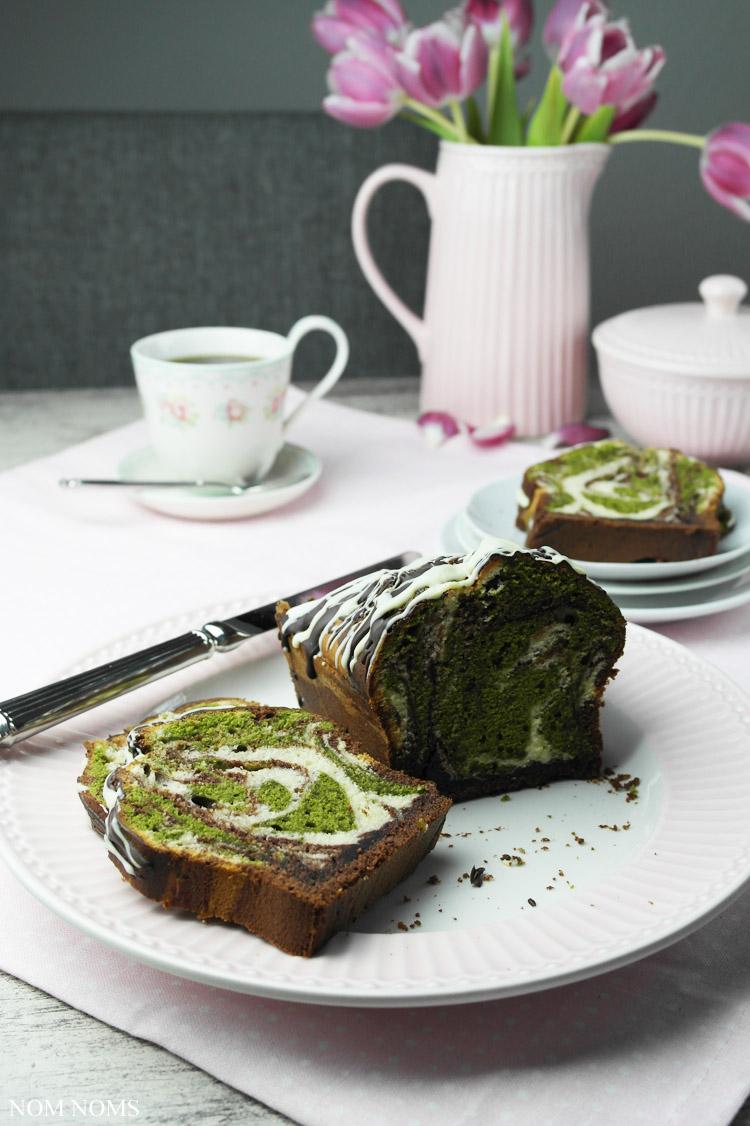 triple mamorkuchen mit matcha tee | triple marble cake with matcha tea (veggie) ❤