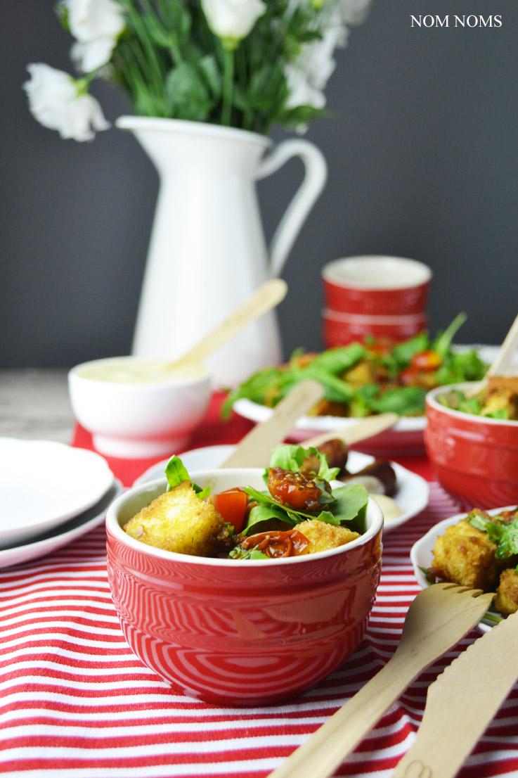 vegetarisch grillen mit tomaten-brot-salat & honig-senf-sauce (vegetarisch| werbung) ❤