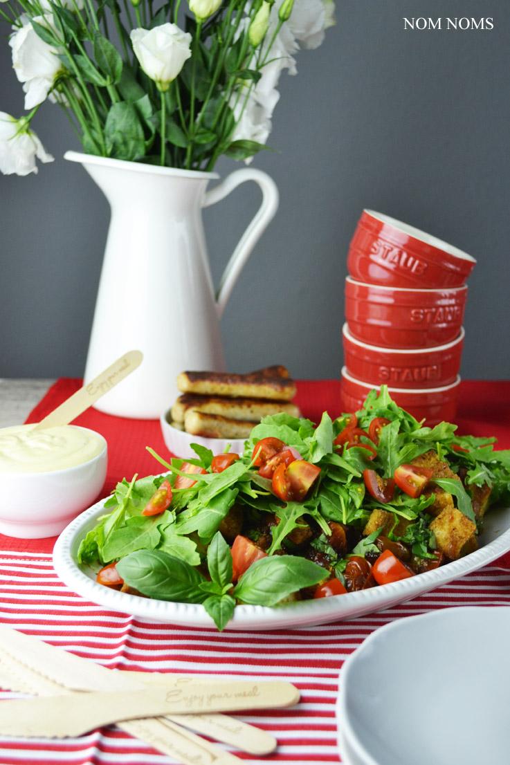 Vegetarisch Grillen Tomaten Brot Salat Honig Senf Sauce Nom