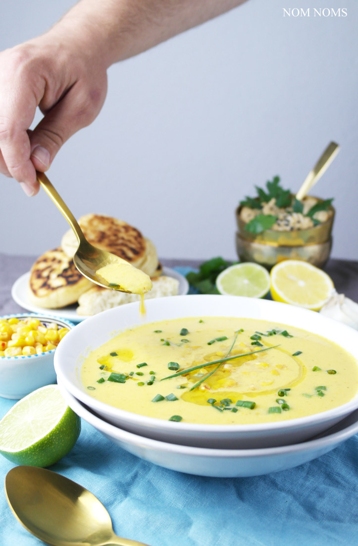 wärmende maissuppe, cremiger hummus und knusprig luftige pita aus der pfanne ❤