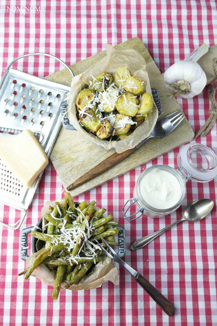 gerösteter rosenkohl aus dem ofen & geröstete grüne bohnen aus dem ofen | roasted brussels sprouts from the oven & roasted green beans from the oven (vegetarian) ❤