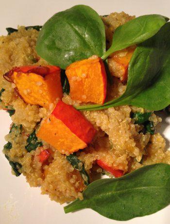 pfannenzeit: kürbis, babyspinat & quinoa (mit feta) | pan time: pumpkin, baby spinach & quinoa (with ewe's cheese)