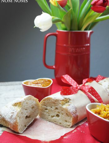 französisches baguette mit rotem pesto & möhren-feigen-chutney