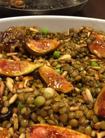 warmer linsensalat mit karamellisierten feigen | warm lentil salad with caramalized figs