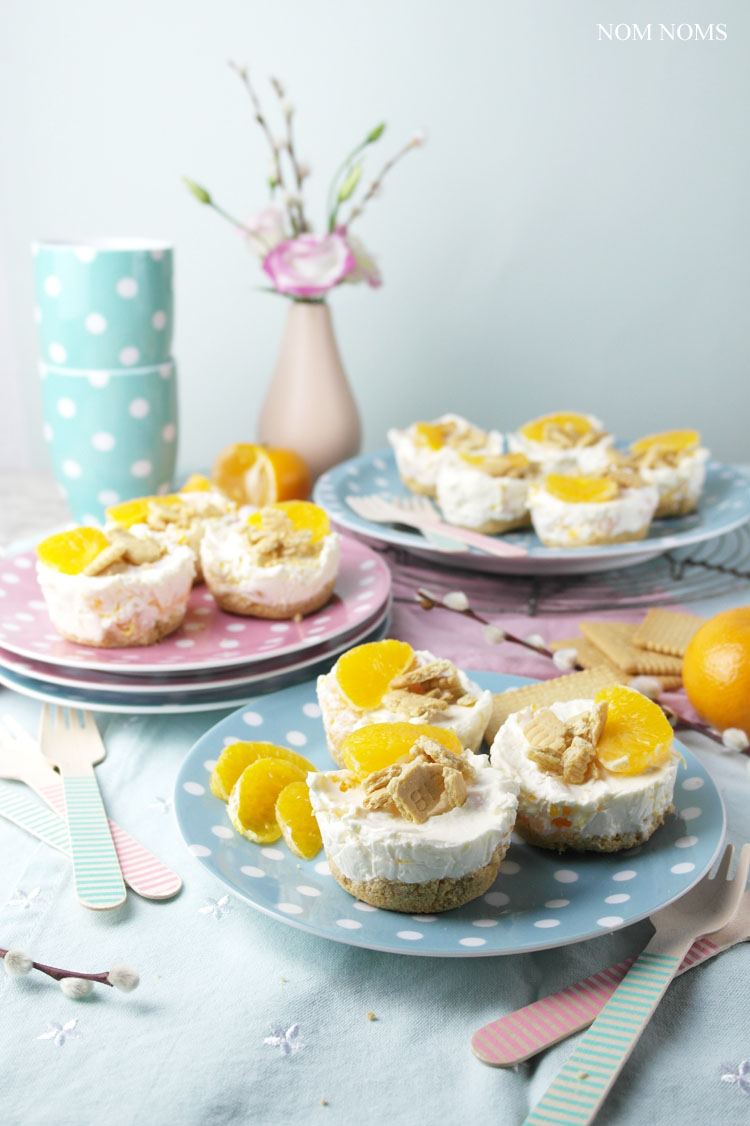 kleine mandarinen käsekuchen ohne backen | no bake mini tangerine cheesecakes ❤ (vegetarian)