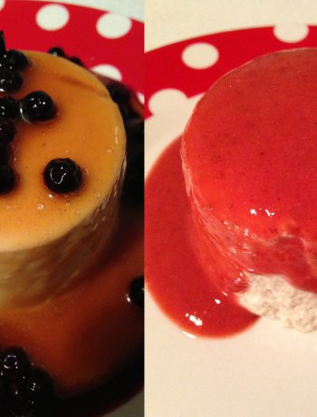 panna cotta with caramel, blueberry or strawberry sauce | panna cotta mit karamell, blaubeer oder erdbeer-sauce