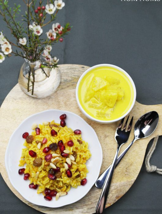 orientalisch-würziger reis mit ananas-curry-sauce | oriental spicy rice with pineapple curry sauce