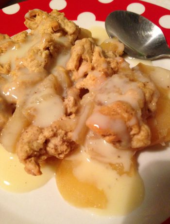 apfel crumble mit vanillesoße | apple crumble with vanilla sauce
