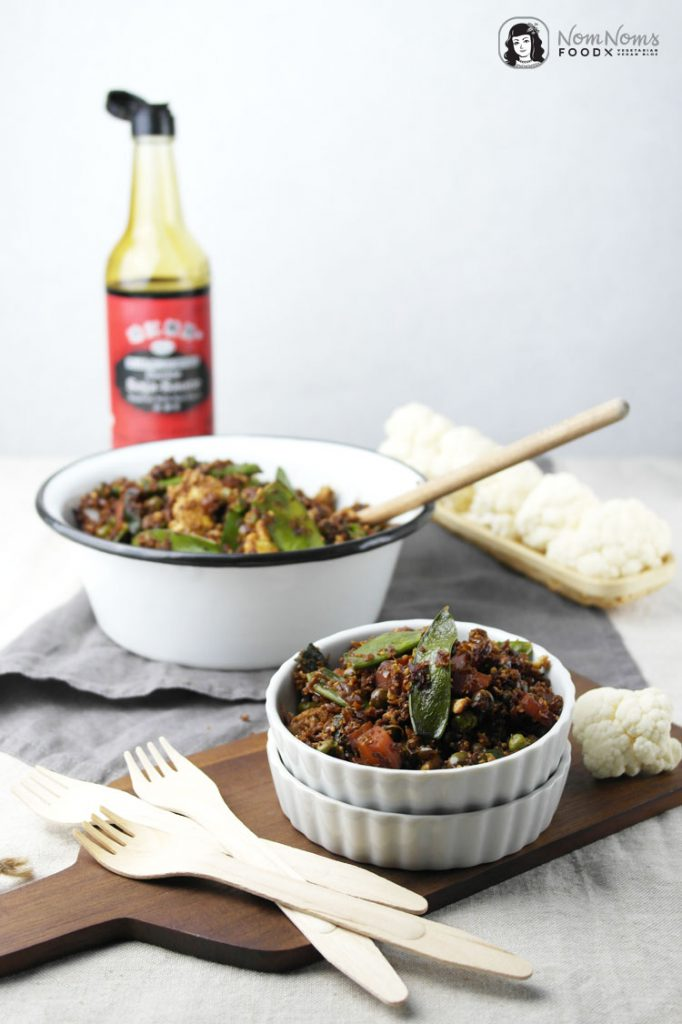gebratener blumenkohlreis mit gemüse / fried cauliflower rice with vegetables