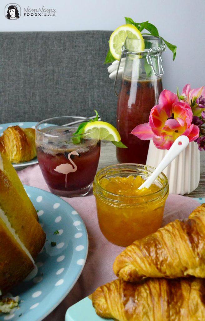 Basilikum-Limetten-Kuchen, Blaubeer-Basilikum-Limonade und Orangen-Ingwer-Marmelade | basil lime cake, blueberry basil lemonade and orange ginger marmelade