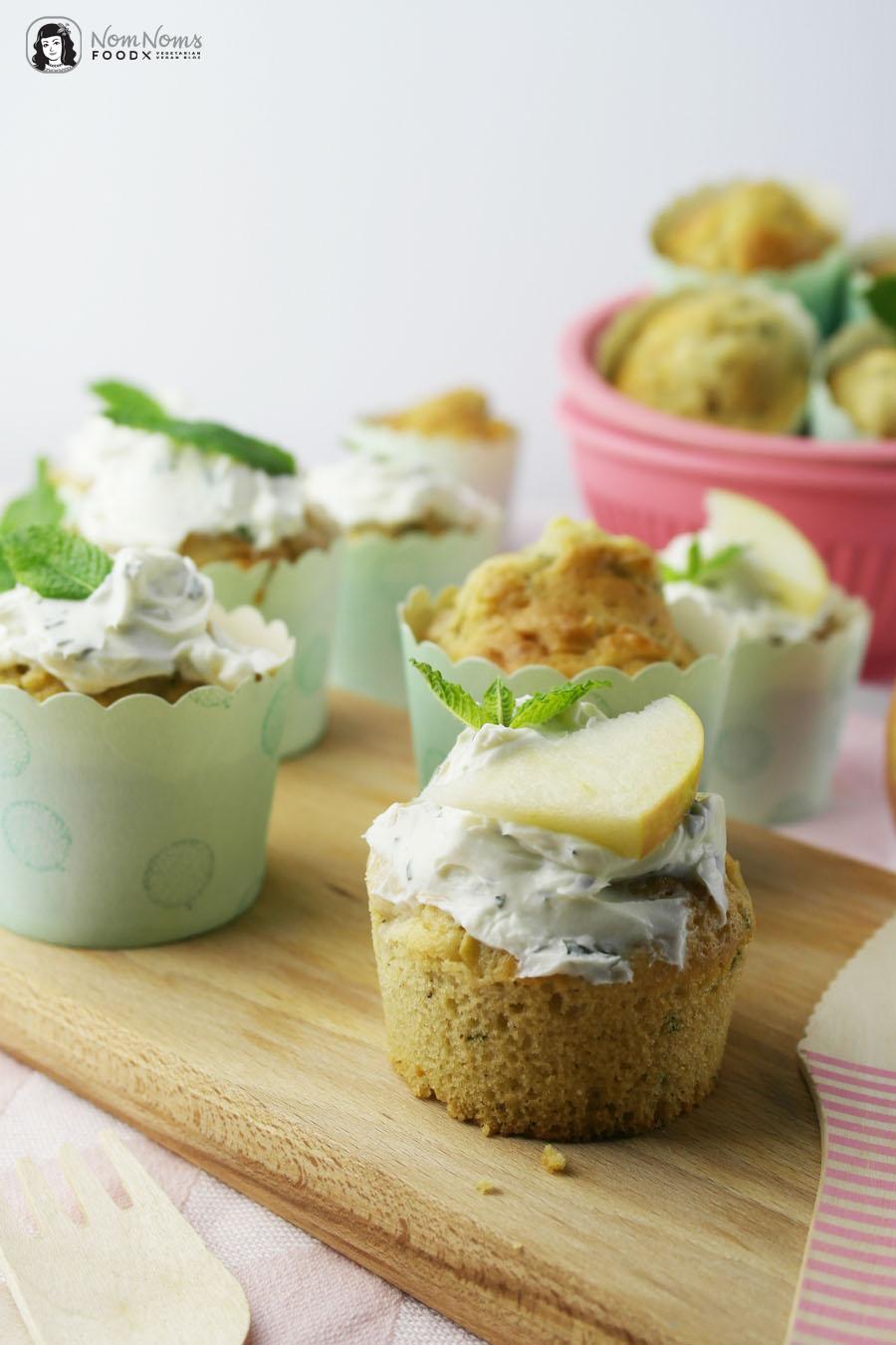 Apfel-Minz-Muffins mit Minz-Frosting