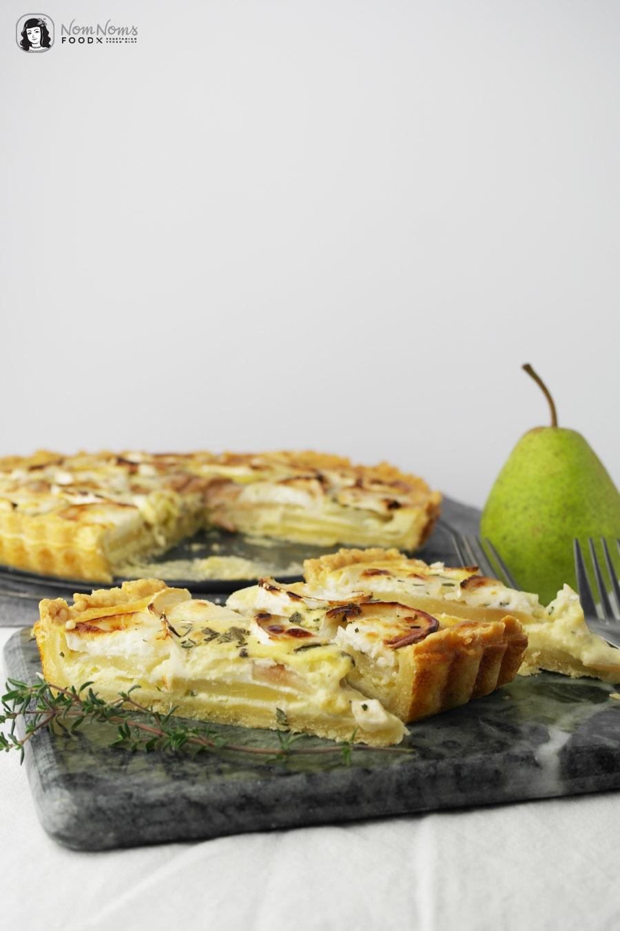 Birnen-Ziegenkäse-Quiche mit Parmesan-Boden