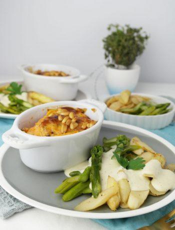 Zweierlei cremiger Vanille-Spargel mit Süßkartoffel-Auflauf | vegan