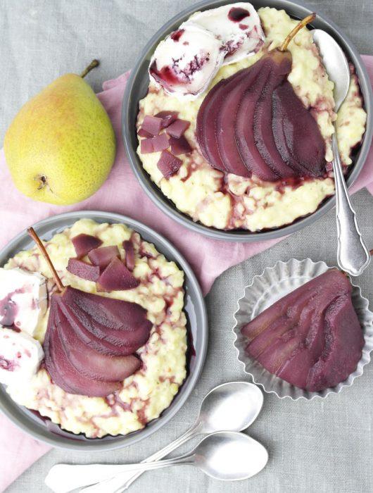 Rotwein-Birnen-Ziegenkäse-Risotto ❤ Pearlicious | Birne x 5