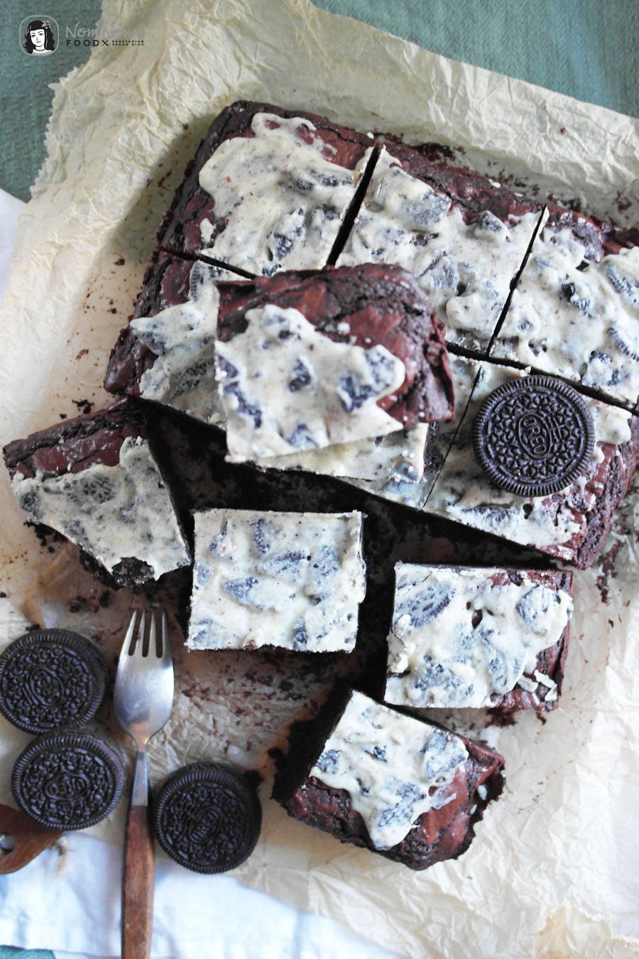 Double Chocolate Cookies and Cream Oreo Brownies
