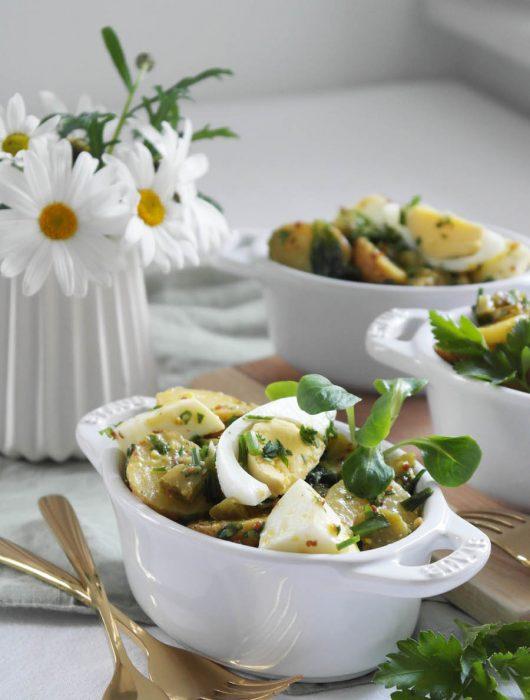 Kartoffelsalat mit Ei, Honig-Senf-Dressing und Feldsalat | Senfei aus Sachsen-Anhalt mal anders