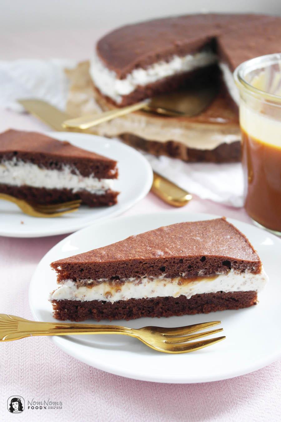 Milchschnitten-Torte mit Salzkaramell-Kern (Salted Caramel) aus der Springform
