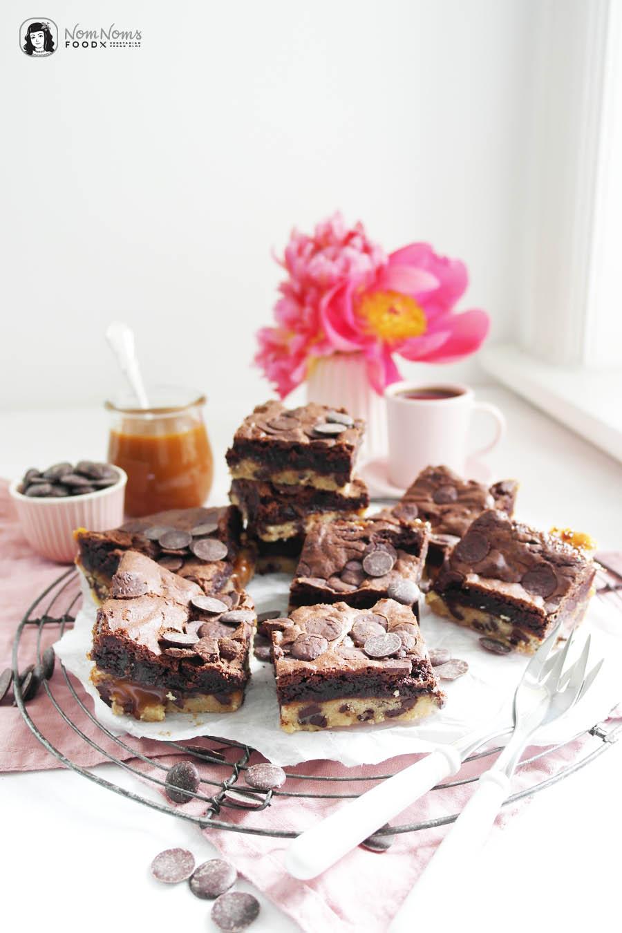 Brownie-Cookies mit Salzkaramell, Salted Caramel Brookies oder auch Slutty Brownies