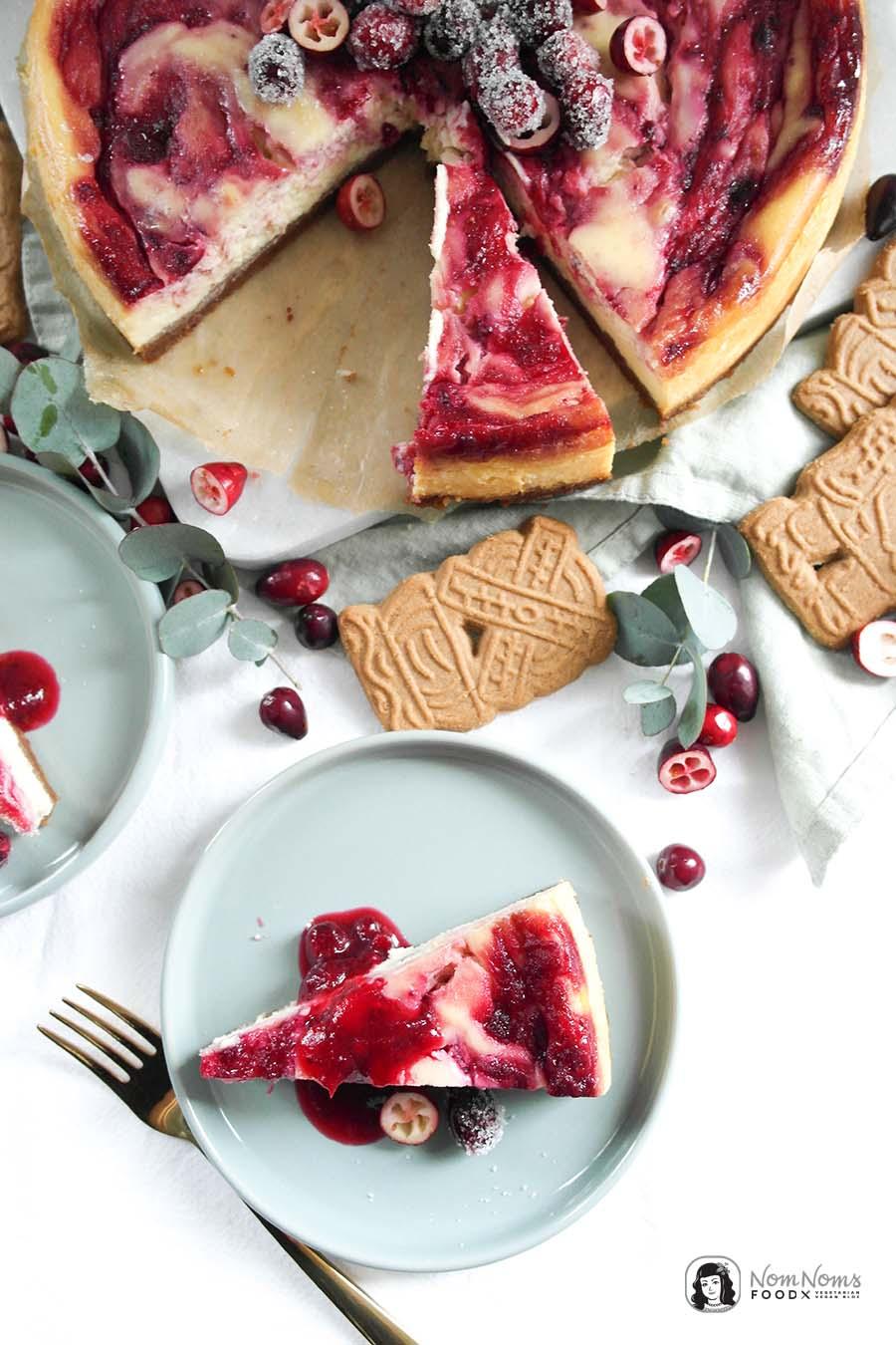Weiße Schokolade Cranberry Käsekuchen Cranberry White Chocolate Cheesecake Xmas Boom kulinarischer Adventskalender