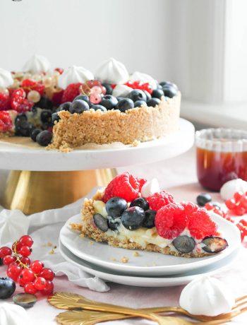 Beeren-Pudding-Kuchen mit Blaubeer-Soße ohne Backen mit Johannisbeeren, Blaubeeren, Brombeeren und Himbeeren
